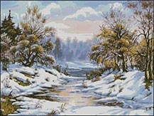 Гоблен -  Зима с поток