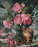 Гоблен - Рози и котка